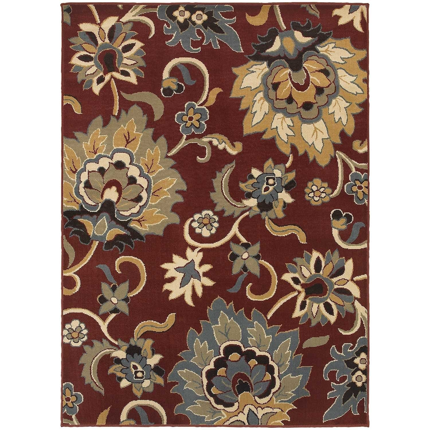 Large Scale Floral Red/ Gold Rug (67 x 93) - 67 x 93 (67 x 93 - Red/Gold)