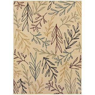 Line Drawn Leaf Ivory/ Multi Rug (7'10 x 10'0)