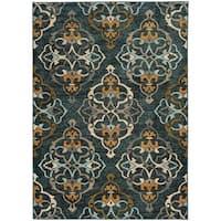 Oranate Quatrefoil Blue/ Gold Rug (1'10 x 3'0)
