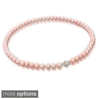 Suzy Levian 14k White Gold Naturally Pink Pearl Necklace (7 - 7.5 mm)