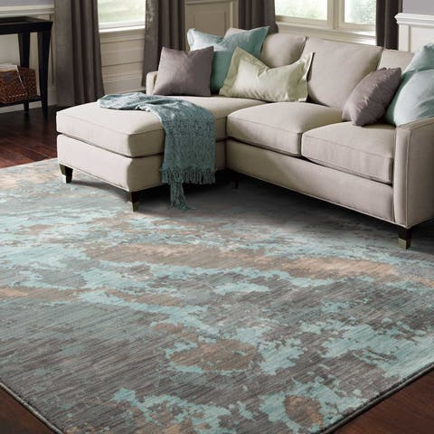 "Carson Carrington Uddevalla Abstract Marble Blue/ Grey Rug - 1'10"" x 3'"