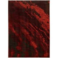 Abstract Marble Red/ Charcoal Rug