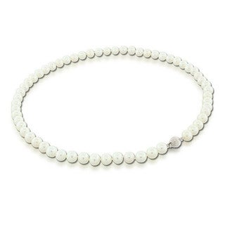 Suzy Levian 14k White Gold White Freshwater Pearl Necklace (7 mm)