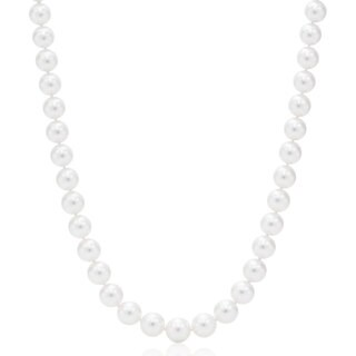 Suzy Levian 14k White Gold White Freshwater Pearl Necklace (8 mm) - White Pearl, White Gold
