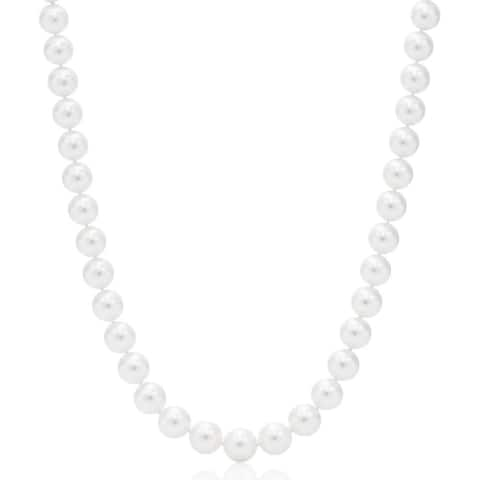 Suzy Levian 14k White Gold White Freshwater Pearl Necklace (9mm 18-24 inches) - White Pearl, White Gold