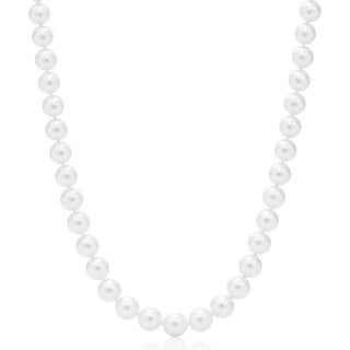 Suzy Levian 14k White Gold White Freshwater Pearl Necklace (9mm 18-24 inches)
