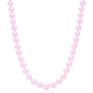Suzy Levian 14k White Gold Purple Freshwater Pearl Necklace (8mm)