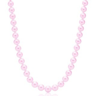 Suzy Levian 14k White Gold Purple Freshwater Pearl Necklace (11mm)