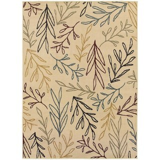 Line Drawn Leaf Ivory/ Multi-colored Rug (1'10 x 2'10)