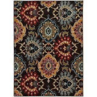 """Bold Floral Charcoal/ Multi-colored Rug (1'10 x 3') - 1'10"""" x 3'"""
