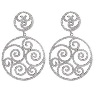 Luxiro Sterling Silver Cubic Zirconia Filigree Swirl Open Circle Dangle Earrings