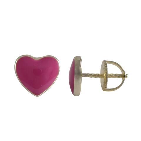 Luxiro Gold Finish Sterling Silver Enamel Heart Stud Screw-back Earrings