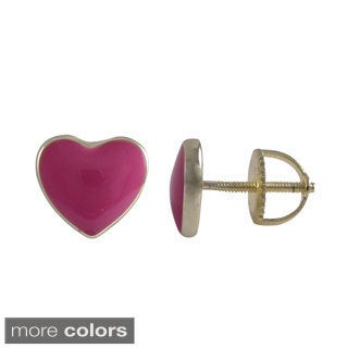 Luxiro Gold Finish Sterling Silver Enamel Heart Stud Screw-back Earrings