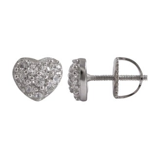Gold Finish Sterling Silver Pave Cubic Zirconia Heart Stud Screw-back Earrings