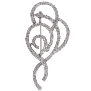 Sterling Silver Cubic Zirconia Filigree Ribbon Pin Brooch
