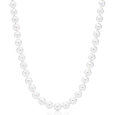 Suzy Levian 14k White Gold White Freshwater Pearl Necklace (10 mm) - White Pearl, White Gold