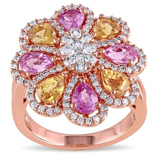 Miadora 18k Rose Gold Pink and Yellow Sapphire and 4/5ct TDW Diamond Flower Ring (G-H, SI1-SI2)