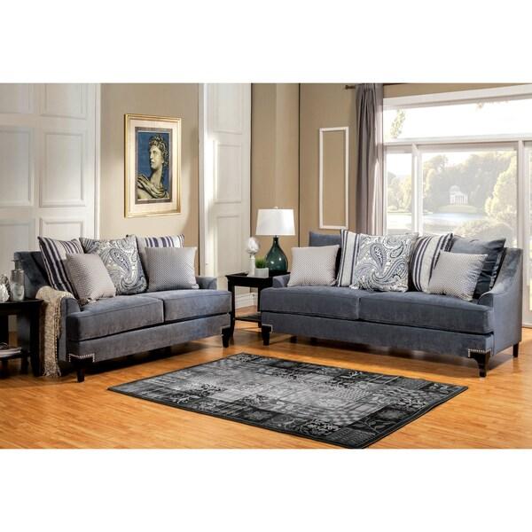 Furniture of America Janice Contemporary 2-Piece Premium Sofa Set