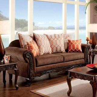 Furniture of America Restene Brown Transitional Sofa