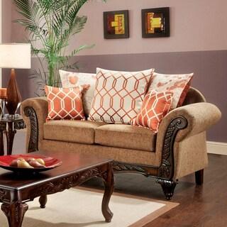 Furniture of America Restene Brown Transitional Loveseat