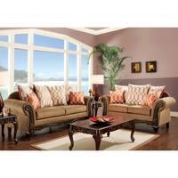 Furniture of America Restene 2-Piece Brown Transitional Sofa Set