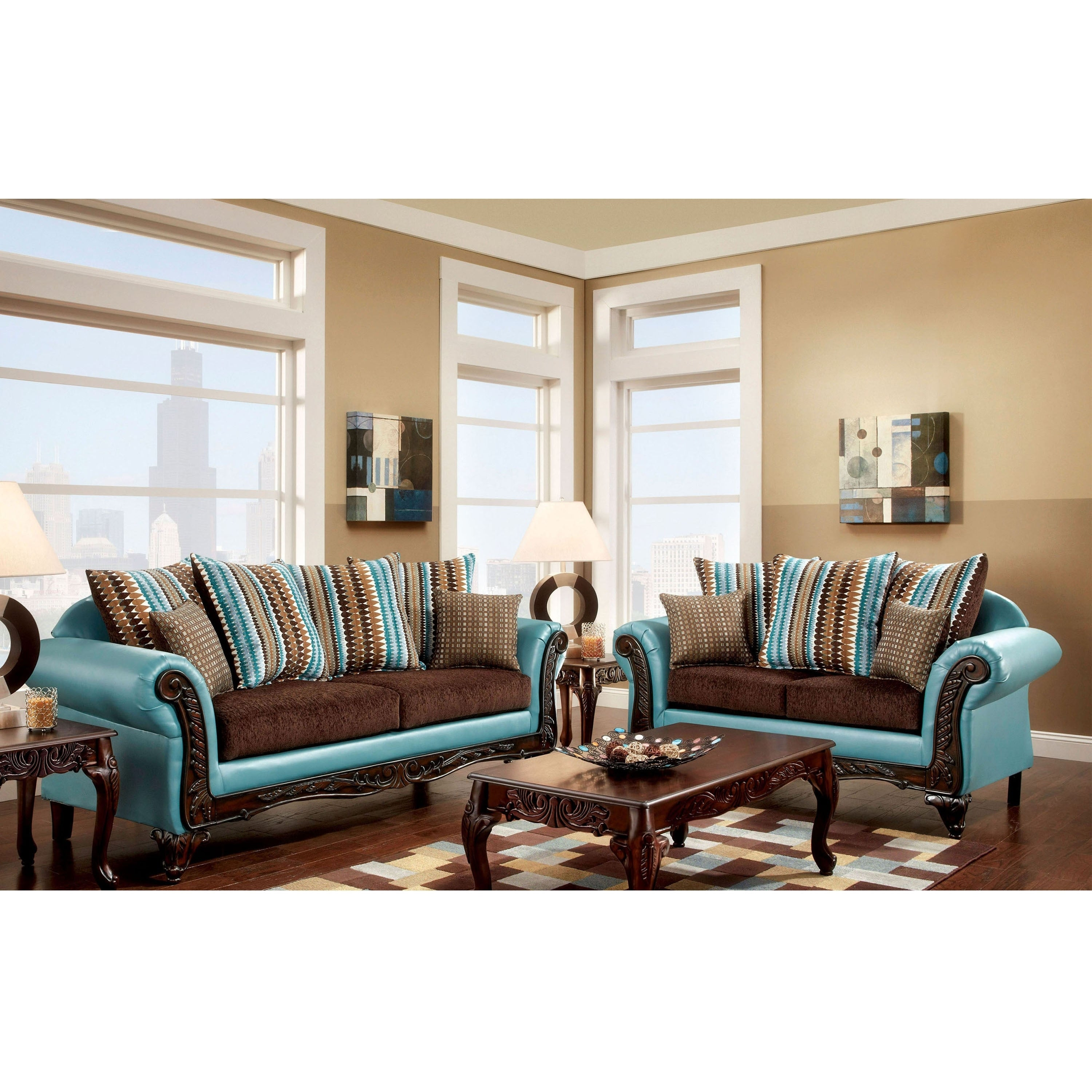 Terrific Destane Transitional Teal 2 Piece Sofa Set By Foa Inzonedesignstudio Interior Chair Design Inzonedesignstudiocom