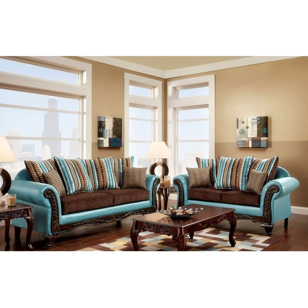 Shop Furniture Of America Pese Transitional Teal 2 Piece