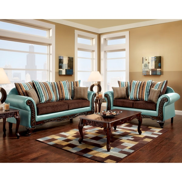 Furniture Of America Destane 2 Piece Teal Transitional