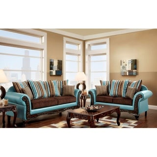 Furniture of America Destane 2-Piece Teal Transitional Sofa Set