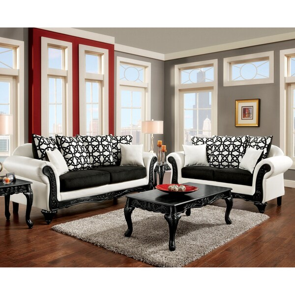 Furniture of America Duality 2-Piece Black and White Sofa Set