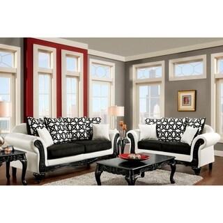 Furniture of America Duality 2-Piece Black and White Sofa Set