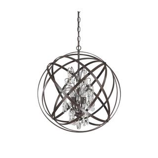 Capital Lighting Axis Collection 4-light Orb Pendant with Russet Finish and Crystals