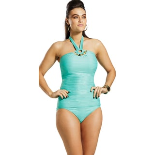 Carmen Marc Valvo Plus Size Teal Tribal Muse Hipster Bottom