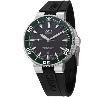 Oris Men's 733 7653 4137 RS 'Divers' Grey Dial Black Rubber Strap Automatic Watch