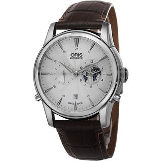 Oris Men's  'Artelier' Silver Dial Brown Leather Strap Limited Edition Watch