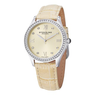 Stuhrling Original Women's Swiss Quartz Vogue Crystal Leather Strap Watch