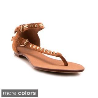 NVY Women's Daphne01 Studded Ankle Strap Thong Sandal