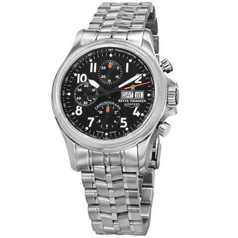 Revue Thommen 'Pilot' Black Dial Stainless Steel Chronograph Automatic Watch