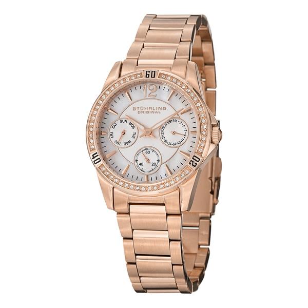 Stuhrling Original Women's Marina Quartz Crystal Stainless Steel Bracelet Watch