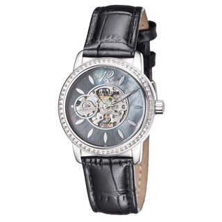 Stuhrling Original Women's Delphi Automatic Crystal Leather Strap Watch