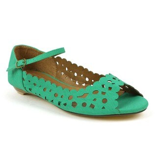 Fahrenheit Women's Naomi-02 Green Laser-cut Mary Jane Flats