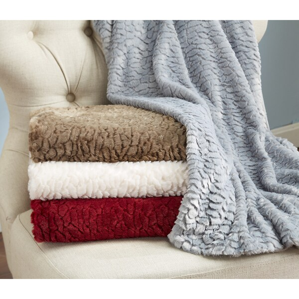 Home Fashion Designs Alistair Collection Ultra Velvet Plush Luxury Sculpted Throw Blanket