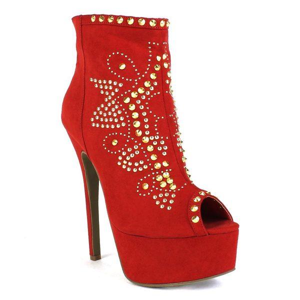 Fahrenheit Women's 'Erin-03' Embellished Peep-Toe Ankle Heel Booties
