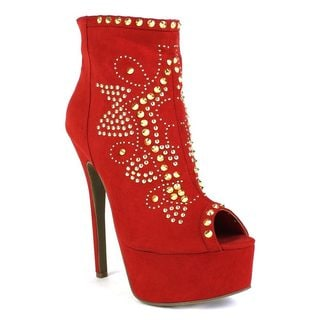 Fahrenheit Women's 'Erin-03' Embellished Peep-Toe Ankle Heel Booties