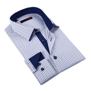 Ungaro Men's Purple Blue and White Striped Men's Cotton Dress Shirt