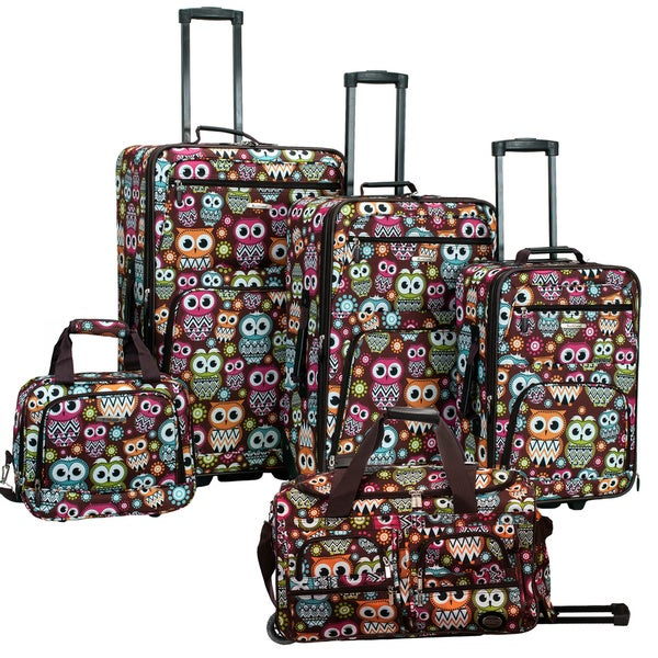 Rockland Owls 5-piece Expandable Rolling Upright Luggage Set
