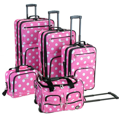 Rockland Polka Dot 5-piece Expandable Rolling Upright Luggage Set