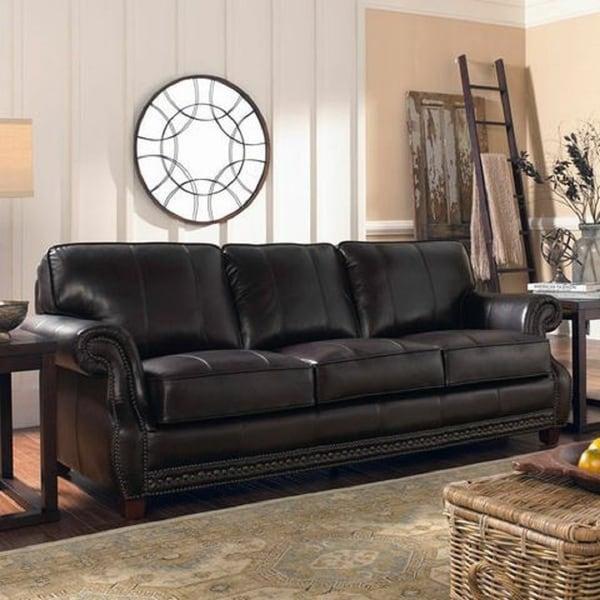 Shop Lazzaro Anna Leather Sofa Free Shipping Today