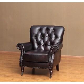 Lauren Brown Nailhead Tufted Leather Chair