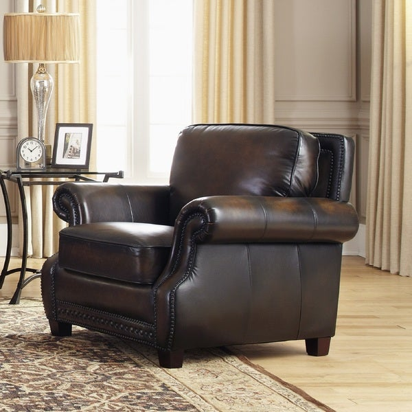 Shop Prato Brown Leather Cowhide Chair Free Shipping Today